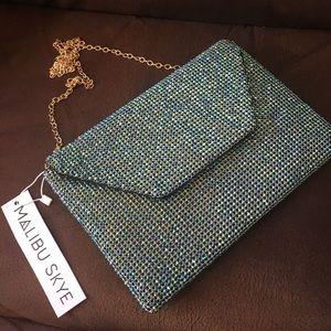 Malibu Skye Blue Rhinestone Clutch Handbag